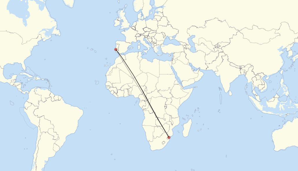 Flight route from Lisbon to Maputo