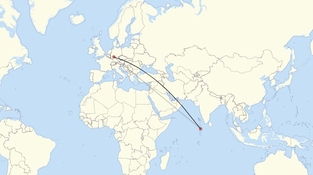Flight Route From Frankfurt am Main to Male