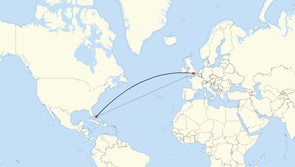 Flight route from London to Nassau