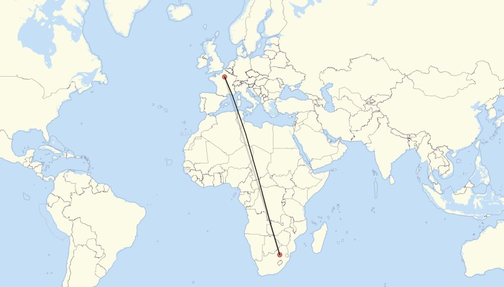 Flight route from Paris to Johannesburg
