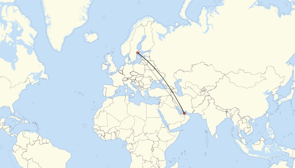 Flight route from Stockholm to Dubai