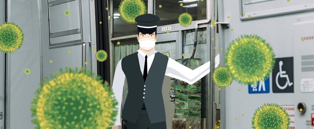 man with a face mask on a train surrounded by coronavirus pathogen